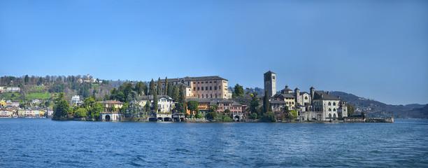Panorama view of San Giulio island on Lake Orta in Italy