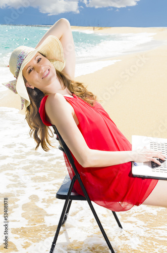 Using Laptop on Beach