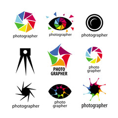 Collection of vector logos cameras and lenses