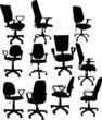 eleven office chairs isolated on white