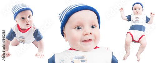 Collage of  child boy isolated on white background
