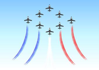 Formation d'avions avec fumigènes