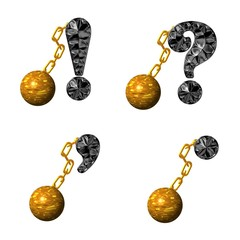 ABC Deneane Schwarz metall,Goldkugel an Kette,3D,Exclusuv,Punkt
