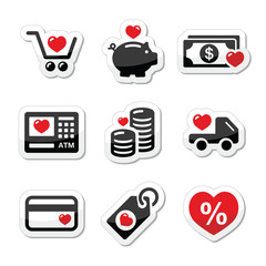 I love shopping, I love money vector icons