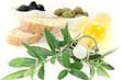 Olivenölflasche mit Zweig
