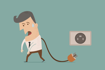 businessman unplug