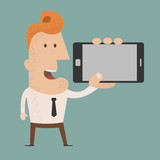 Business man show smart phone  , eps10 vector format