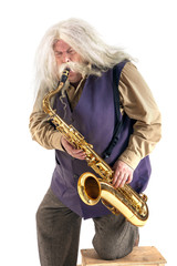 Old hippies saxophonist