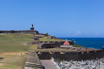 Cemetery bellow El Morro Fort in Old San Juan , Puerto Rico ..