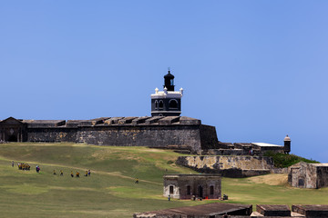 El Morro Lighthouse (El faro del Morro) in Old San Juan, PR