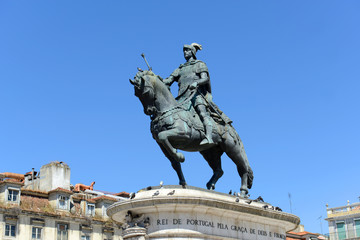 Statue of King João I at the center of Praça da Figueira, Lisbon