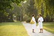 Young couple strolling the grounds of a spa