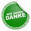 3DAufkleber Grün - Wir sagen Danke für Ihr Vertrauen