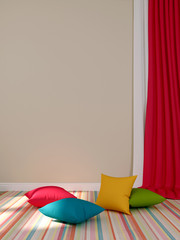 Ñolorful cushions and curtains
