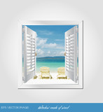 eps Vector image:Window made of wood.
