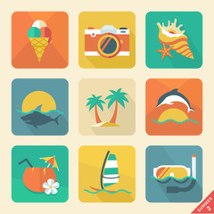 Summer icon set 2. Flat design trend. Retro color. Vector illust