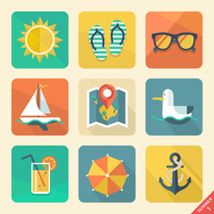 Summer icons. Flat design trend. Retro color. Vector illustratio