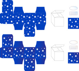 Vector template of blue gift box with white stars