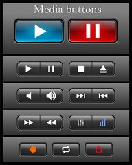 Black media buttons