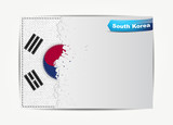 Stitched South Korea flag with grunge paper frame for your text.