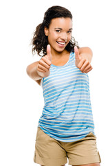 Happy mixed race woman thumbs up isolated on white background