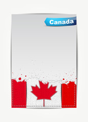 Stitched Canada flag with grunge paper frame for your text.