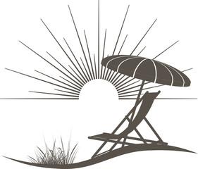 Liegestuhl und Sonnenschirm