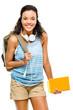 Happy hispanic woman student going back to school