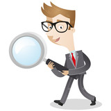 Businessman, magnifying glass, walking, searching