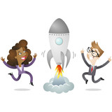 Business people, rocket, jumping, start-up, success