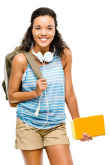 Happy hispanic woman student going back to school