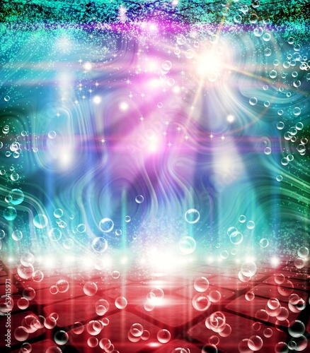 Abstract Background with lights and Bubbles.