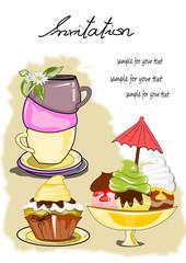 Einladung mit Kaffee, Muffin, Eisbecher