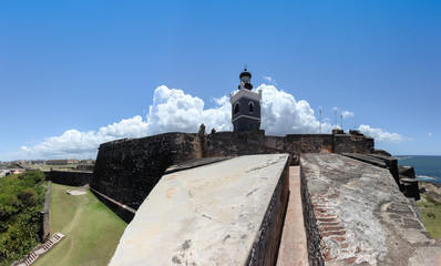 LIghthouse at  El Morro, Fortification walls in foreground