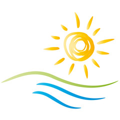 Sommer - Sonne - Strand und Wasser - Logo