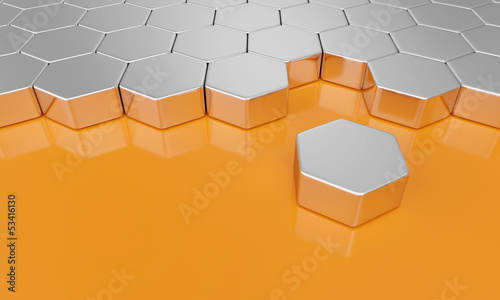 3D Sechseck Bausteine - Orange Silber