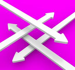 4 Pfeile über Kreuz - Weiß Pink