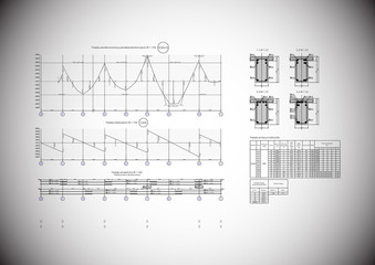 Vector drawing of construction details on grey. AI CS.