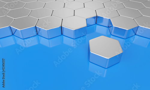 Blau Silber - Sechseck Bausteine