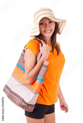 Portrait of a young beautiful asian woman in summer clothes - As