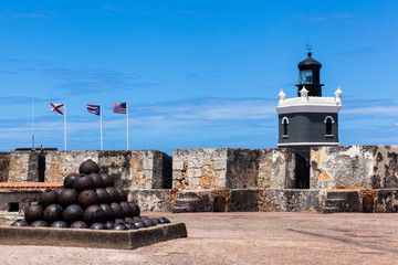 cannonballs at  El Morro fort in San Juan,