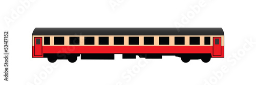 Red passenger rail car
