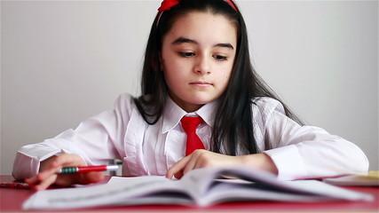 Schoolgirl studying