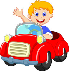 boy in the red car