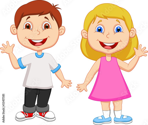 Boy and girl waving hand