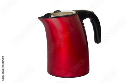 red electric kettle on a white background