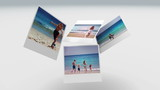 Instant photos of summer scenes floating