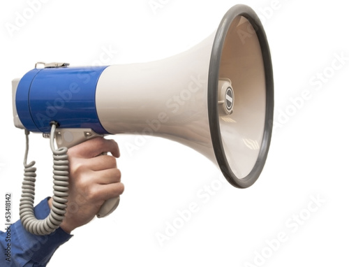 Isolated megaphone in hand on the white background