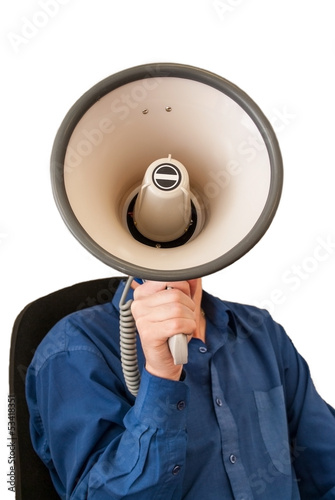 Sitting man with megaphone in hand on the white background