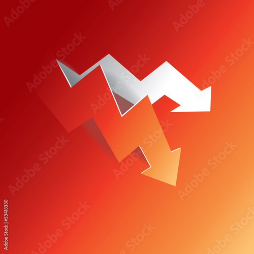 Arrow graph peeling down from red paper background